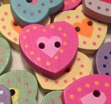 20 cuori pastello 18 mm in Legno Pulsanti per da cucire maglieria artigianato e rottami di prenotazione
