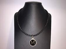 Nuevo - Collar Necklace PEKAN Collar piel + Plata Envejecida + oro + Circonitas