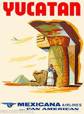 Yucatan Ruins Mexico Mexican Vintage Travel Advertisement Art Poster