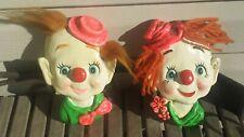 "2 RareVintage Chalkware Clown w Hair Wall Plaques Hanging Enesco Japan E-8982 7"""