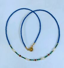 Afghan Natural Lapis, Malachite, Pearl & Garnet Tiny Seed Beads Necklace Vintage