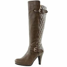 New in Box Gorgeous! West Blvd Boston Quilted Riding Boots Taupe Size 8.5 (B,M)