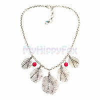Lucky Brand Antiqued Silver Tone Multi Leaf Pendant Necklace with Red Gem Stones