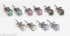 Screw Back (pierced) Opal Stud Round Costume Earrings