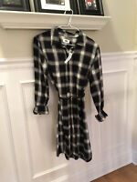 NWT Old Navy Women's Black & White Plaid Flannel Long Sleeve Dress Sz. S