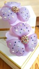 Crystal hair clip french flower barrette lilac rhinestones swarovski MC Davidian