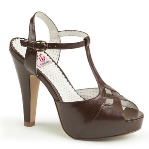 """PIN UP COUTURE Bettie-23 4 1/2"""" Heel Open Toe T-Strap Sandal"""
