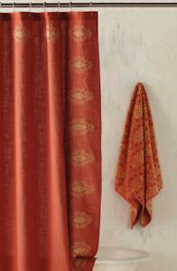 John Robshaw Cusa Medallion Embroidered Fabric shower curtain Terracotta Gold