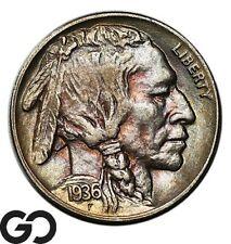 1936-D Buffalo Nickel, Choice AU Denver Issue