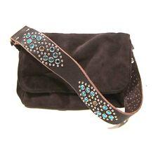 Tylie Malibu Bag Classic Small Size Brown Suede Leather Swarovski Crystal Strap