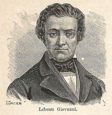 A7316 Giovanni Lebeau - Stampa Antica del 1928 - Xilografia