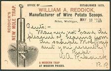 1899, Reddick's New Mole Trap of Niles Michigan advertising UX12 card