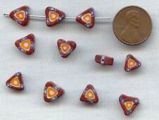 18 VINTAGE GLASS MILLEFIORI BROWN ORANGE BLUE TRIANGLE CHEVRON TRADE BEADS 1980