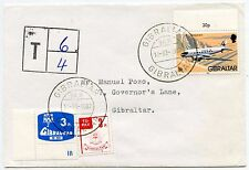 GIBRALTAR POSTAGE DUE INTERNAL 1987 FRANKED AIRCRAFT 1p CHARGED 3p + 3p MIXED
