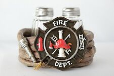 Polyresin & Glass Firefighter Maltese Cross Salt & Pepper Shaker set