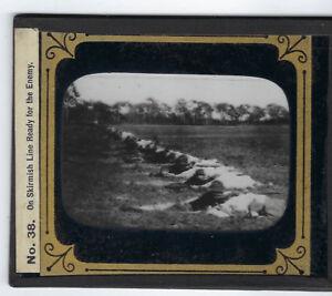 U.S. Skirmish Line Ready for Enemy glass lantern slide Spanish American War 1900