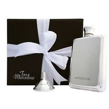 Sterling Silver 3oz Rectangular Hip Flask with Free Sterling Silver Funnel