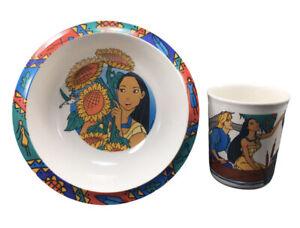 Vintage Pocahantas Cup Cereal Bowl Set Plastic Kibouki John Smith Kids Mug