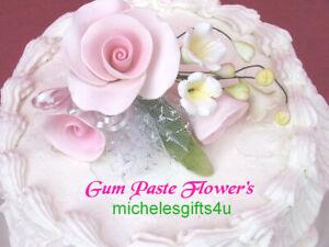 FREE SHIPPING Sugar Gum Paste Pink Roses Cake Decorating Flowers