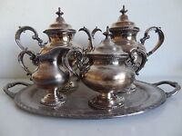 VINTAGE REED & BARTON 5 PC SILVER PLATED TEA SET WITH ROGERS TRAY