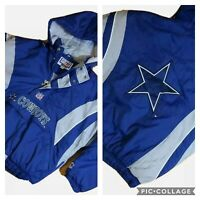 Vintage 90's STARTER Dallas Cowboys 1/2 Zip Pullover Jacket Big Logo Large L