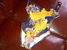Belle Mode  Swimsuit blue with yellow red brown golden white flowers  full body