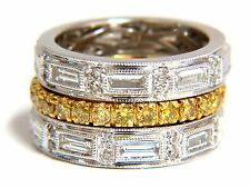 2.74ct natural fancy yellow diamonds & baguette eternity ring stackable 18kt