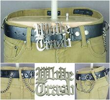Hot Topic Leather Belt White Trash Buckle Chains Biker Punk Rock Rebel 32-36