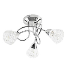 Modern Polished Chrome 3 Way Cross Over Ceiling Light Cut Glass Shades Lighting