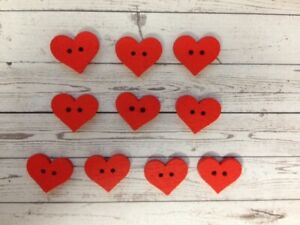 10 Red Wooden Heart Buttons Sewing Card Making Scrapbook Craft Embellishments