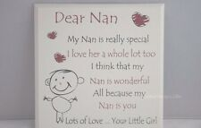"""Plaque Dear Nan """"My Nan Is Really Special"""" Sign Wooden Red Cream 20cm F1105A"""
