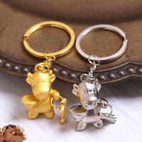 Zodiac Ox Keychain Pendant Vintage Lucky Bull Keychain Charm Chinese Decor N_N