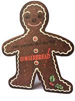 Vintage Die Cut Gingerbread Man Christmas Card Unused