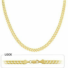 "5.90mm 30"" 28.50gm 14k Gold Solid Yellow Men Flat Cuban Necklace Chain Polished"