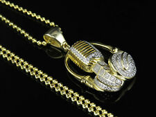 Sterling Silver Yellow Gold Finish Lab Diamond Headphone Mic Pendant Chain Set