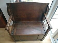 More details for small oak monks bench (seat to table)