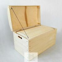 Large Wooden storage box trunk chest blanket natural wood PK360D - Free delivery