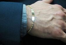 "Vintage14k solid yellow gold engravable plate Men's ID bracelet 8"""