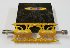 GT WING Vintage Old School BMX Pedals Bicycle Bike Alloy 9/16 Flat-Platform Gold