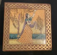 Hand Carved Wooden Decor Box Crushed-Velvet Lined-beautiful Details- Vintage