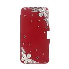 Sublime Etui portefeuille housse pour iphone 6 rouge strass fleurs NEUF !