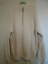 Orvis Mens XL Cream 1/4 Zip Large Knit Cotton Sweater Pullover