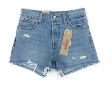 6ae1d757 Levi's Wedgie Fit High Rise Women's Size 24 Jean Denim Shorts Blue Torn