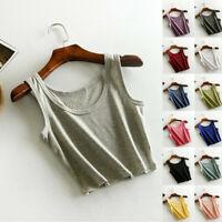 Female Women Sleeveless T-Shirt Tank Short Cami Vest Crop Top Blouse Plain Shirt