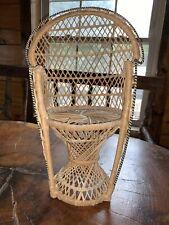 "Rattan Wicker High Back Chair 16"" Mini Doll Furniture Vintage"