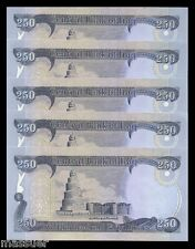1250 IRAQ DINAR MONEY - 5 X 250 DINAR   CRISP UNCIRCULATED SET OF 5 NOTES