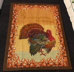 Williams Sonoma Autumn Turkey Thanksgiving Greetings Kitchen Tea Towel, Italy