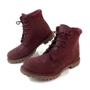 Timberland Womens Waterville Basic 6 Burgundy Suede Combat Lace Up Boots