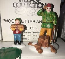 """Dept 56 Heritage Village """"Wood Cutter and Son"""" Set Of 2 #5986-2 in Box"""