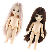 Details about  /Cute Moveable BJD Doll Nude Body White Skin for Kids Toy DIY Supplies B-1